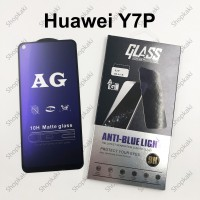 Shopkaki Huawei Y7P Matte Anti Fingerprint Tempered Glass with Anti Blue Light Protection Screen Protector
