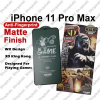 Shopkaki iPhone 11 Pro Max WK Design 3D King Kong Gaming Matte Finish Anti Fingerprint Tempered Glass Screen Protector