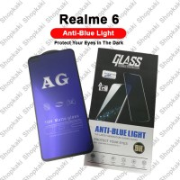 Shopkaki Oppo Realme 6 Matte Anti Fingerprint Tempered Glass with Anti Blue Light Protection Screen Protector